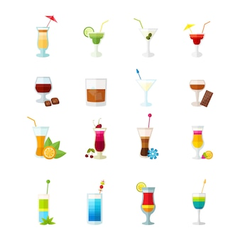 Veelkleurige cocktail pictogrammen instellen