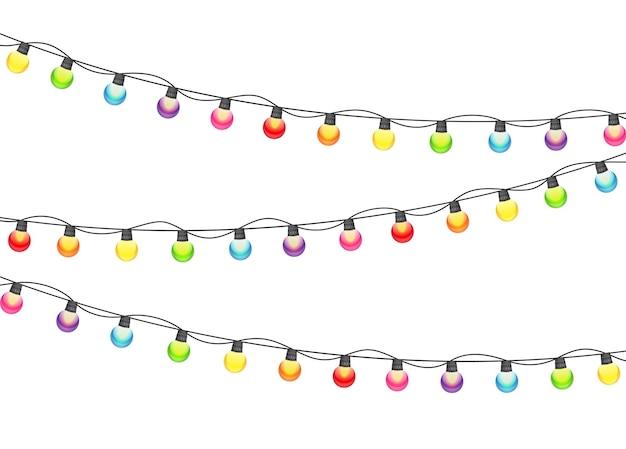 Veelkleurige garland lamp bollen feestelijke vectorillustratie