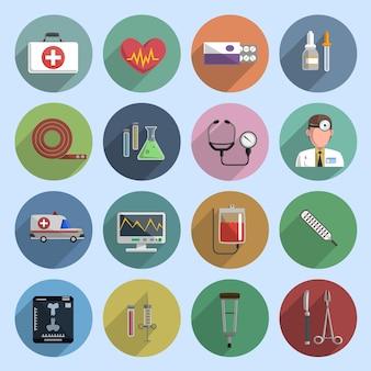 Veelkleurige geneeskunde pictogram plat