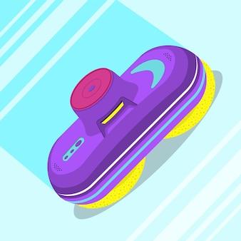 Veelkleurige glasreinigingsrobot. platte vectorillustratie.