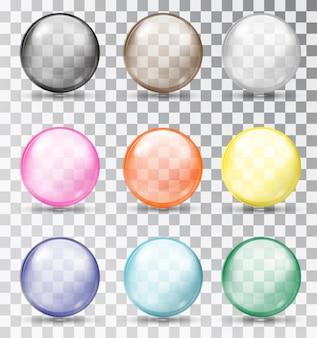 Veelkleurige glazen bollen set