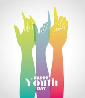Veelkleurige gradiënthanden omhoog van gelukkige de jeugddag, jonge vakantie en vriendschapsthemaillustratie