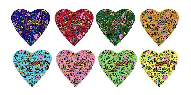Veelkleurige harten van abstracte vectorelementen in een eenvoudige doodle-stijl