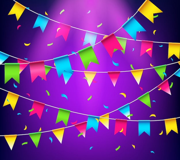 Veelkleurige heldere gorzen slingers. partij vlaggen met confetti