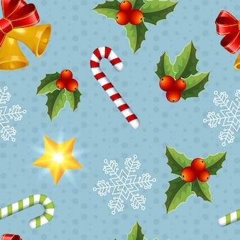 Veelkleurige kerst objecten naadloze patroon op blauw