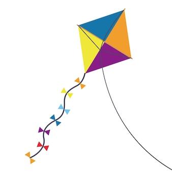 Veelkleurige kite speelgoed met strikjes pictogram