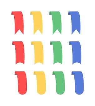Veelkleurige linten. banden van verschillende vormen.