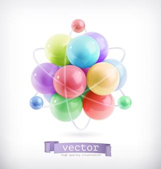Veelkleurige molecuul, vectorillustratie