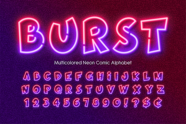Veelkleurige neonlicht alfabet, extra gloeiende komische stijltype.