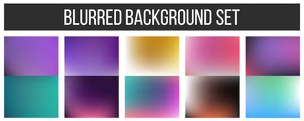 Veelkleurige onscherpe achtergrond set.