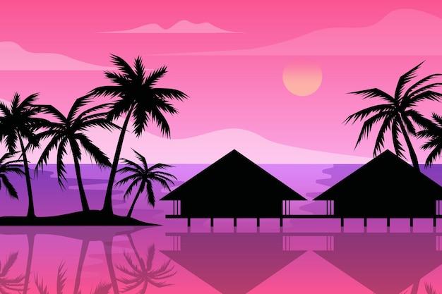 Veelkleurige palm silhouetten behang