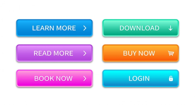 Veelkleurige rechthoekige web knop. conceptelement voor website. trendy knoppen ingesteld voor gebruik in web, interface, apps en games.