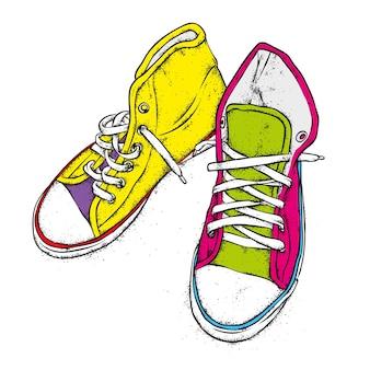 Veelkleurige sneakers.