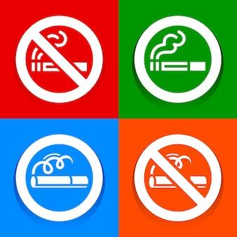 Veelkleurige stickers - bord met verboden ruimte voor rokers, vectorillustratie