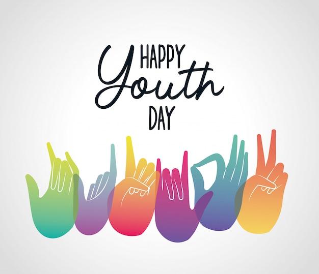Veelkleurige verloop handen van gelukkige jeugddag