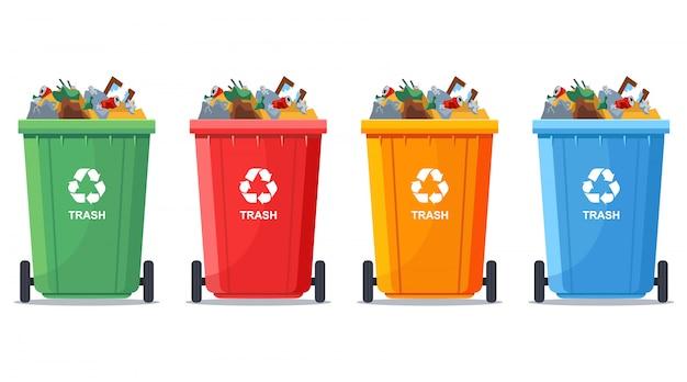 Veelkleurige volle vuilnisbakken