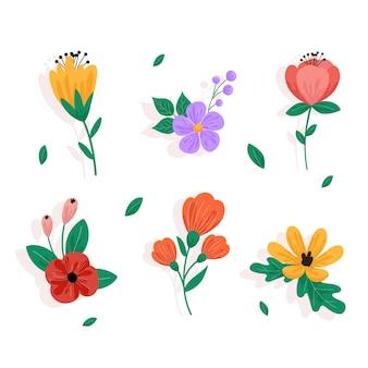 Veelkleurige voorjaarsbloemcollectie in plat ontwerp