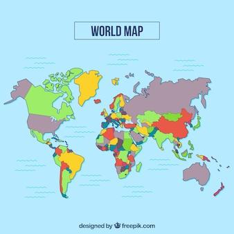 Veelkleurige wereldkaart met blauwe achtergrond