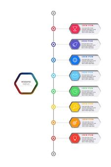 Veelkleurige zeshoekige elementen met dunne lijnpictogrammen in een infographic sjabloon voor verticale tijdlijn