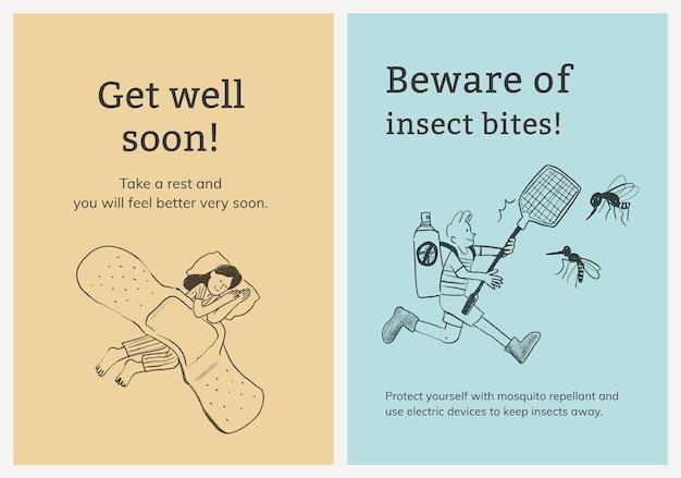 Veelvoorkomende ziekten sjabloon set gezondheidszorg poster