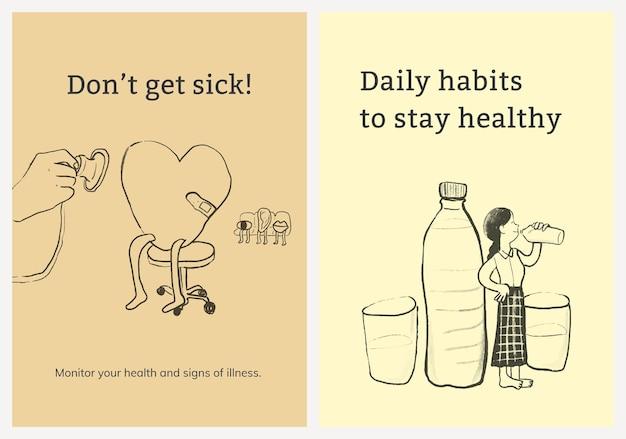 Veelvoorkomende ziekten sjabloon vector set gezondheidszorg poster