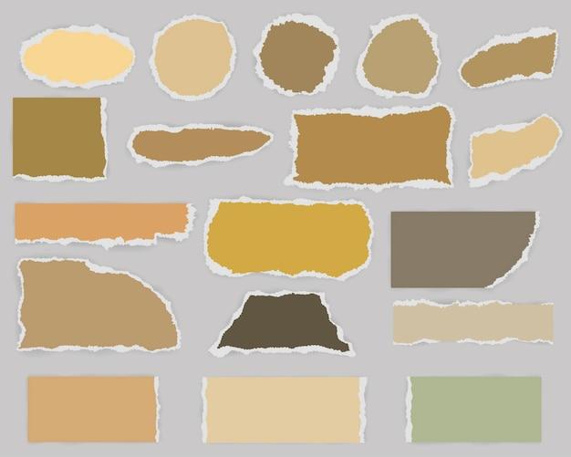 Veelvormige stukken gescheurd blanco papier met schaduw en vintage kleuren