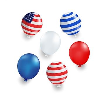 Veelvoudige kleurenballon met blauwe, rode, amerikaanse vlag gestreept op witte achtergrond. geïsoleerd.