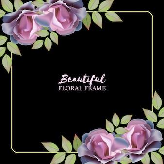 Veelzijdige florale achtergrond met paars roze frame