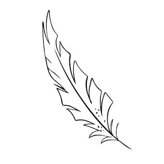Veer van vogels zwart-wit veer silhouet voor logo vector set