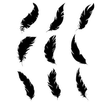 Veer van vogels zwarte veer silhouet voor logo vector set