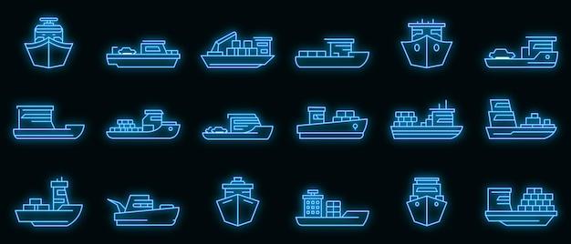 Veerboot pictogrammen instellen. overzicht set van veerboot vector iconen neon kleur op zwart