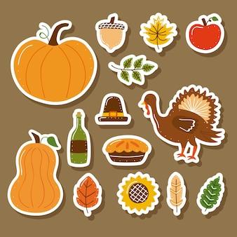 Veertien pictogrammen voor thanksgiving-vieringen