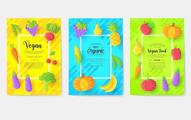Vegan brochure kaarten instellen. vegetarische uitnodiging concept achtergrond.