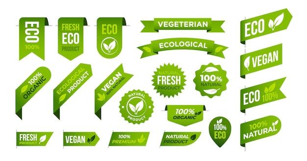 Vegan eco biologische banners en labels set vegetarische levensstijl embleem gezondheid dieet tag vector iconen