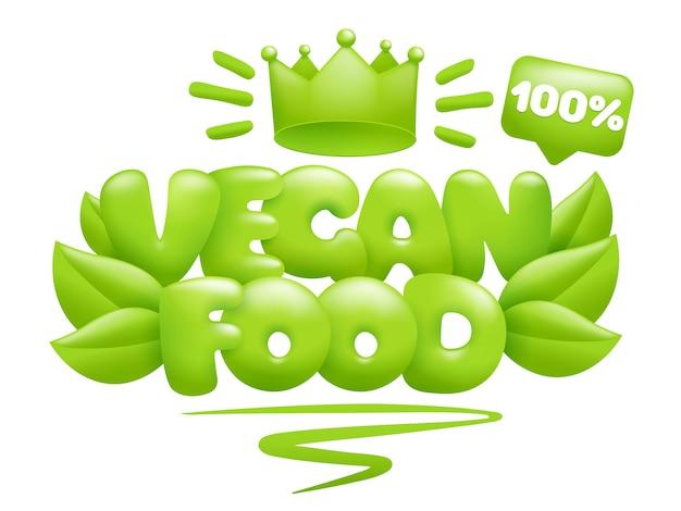 Vegan food icoon met groene bladeren en kroon. 3d-cartoon stijl.