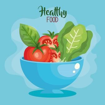 Vegan food illustratie met kom en groenten