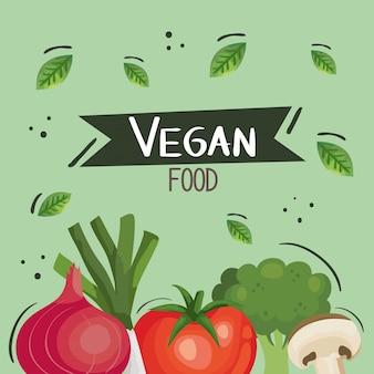 Vegan food illustratie met tomaat en groenten