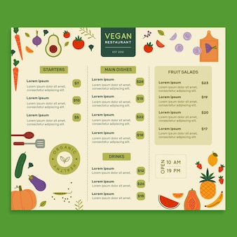 Vegan food restaurant menusjabloon
