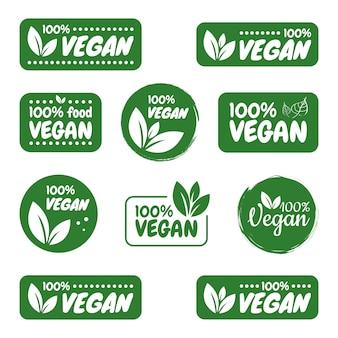 Vegan pictogramserie. vegan logo's en badges, label, tag. groen blad op een witte achtergrond. illustratie.