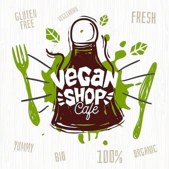 Vegan shop cafe logo vers biologisch, honderd procent veganistisch. hand getekend.