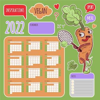 Vegan stickers kalender 2022 jaar tennis wortel schema en collectie labels design elements