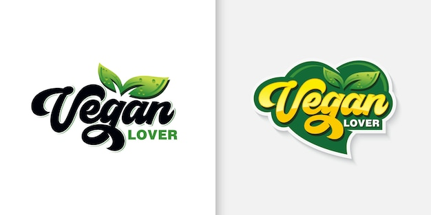 Vegan typografie logo collectie
