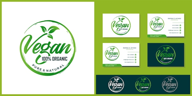 Vegan typografie logo-ontwerp en visitekaartje