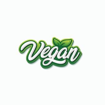 Vegan typografie logo ontwerp premium vector