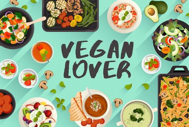 Veganistisch eten eten illustratie in bovenaanzicht vectorillustratie