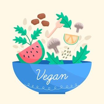 Veganistisch eten in blauwe kom