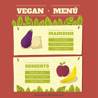 Veganistisch eten menu sjabloon met hand getrokken groenten en fruit