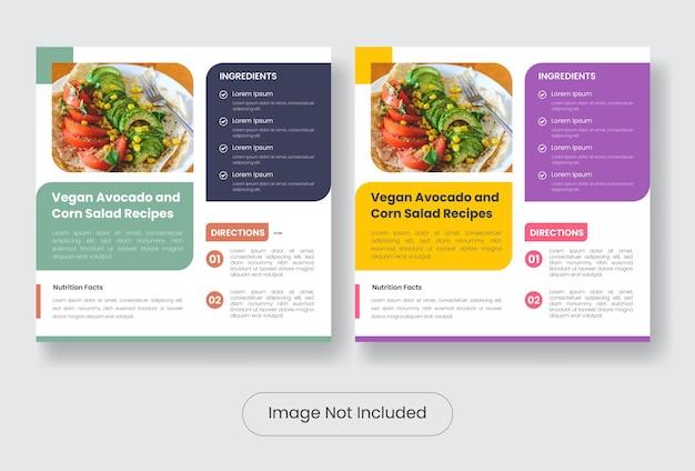 Veganistisch eten recepten instagram post banner sjabloon set template