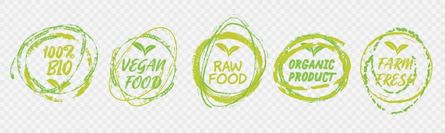 Veganistisch gezond ecologie bio embleem logo ontwerp. belettering badges met verse groene bladeren en grunge cirkels pictogram