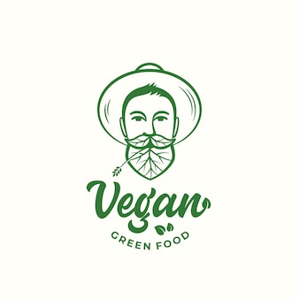 Veganistisch groen voedsel abstract vector teken, symbool of logo sjabloon